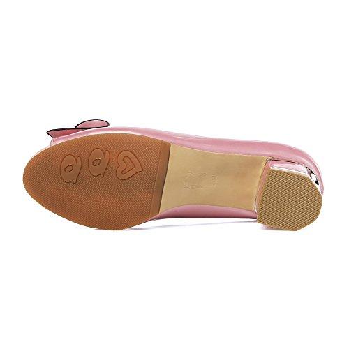 AllhqFashion Mujetes Sólido Mini Tacón Sin cordones Peep Sandalias de vestir con Lazos Rosa
