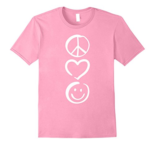 Mens Peace Love and Happiness T-Shirt Peace Sign, Heart, Smile XL (Pink Peace Signs Hearts)