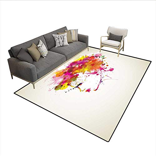 Floor Mat,Watercolor Portrait of a Woman with Artsy