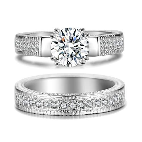 Hosty Bten Diamond Engagement Ring, 2.0 Ct Diamond, 18k White Gold, 2 PCS One Set