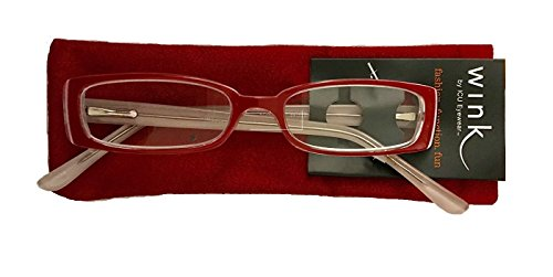 ICU Wink Red Half Eye Women's Reading Glasses W/Case +1.50