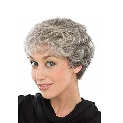 Ahom Pelo corto de mujer hinchado de color gris plateado peluca sintética de alta temperatura alambre