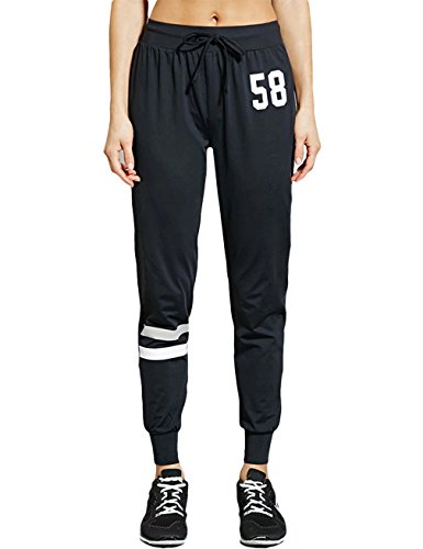 Gameyly Women's Active Number Print Drawstring Athletic Pants M Black (Woman Cropped Cuffed Pant)