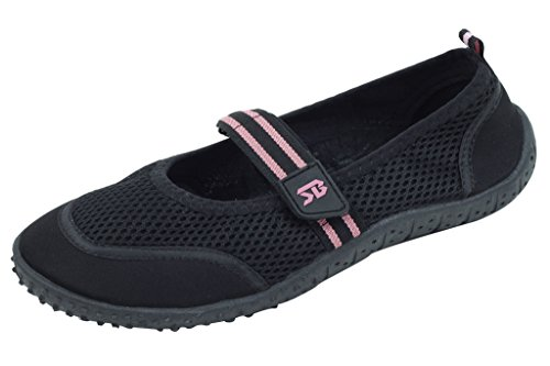 Brand New Women's Slip-On Water Shoes With Velcro Strap Size 8 Black