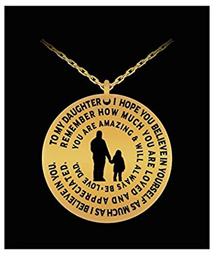 Daughter Necklace From Dad - Gold Laser Engraved Personalized Pendant Charm From Father - Love Gold Laser Charm