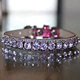 Cat Collars, Lavender Amethyst Crystal Rhinestones Pet Jewelry Collar Necklace, Rockstar Pet Collars TM, Sizes XS-S, USA