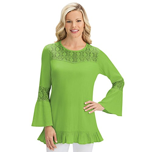 Collections Etc Women's Cotton Gauze Lace Trim Flare Bell Sleeve Tunic Top, Green, X-Large
