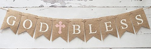Communion God Bless Banner, Ready to Hang Baptism Christening Church Celebration Decoration - Cross Confirmation Garland by Jolly Jon (Pink Cross)