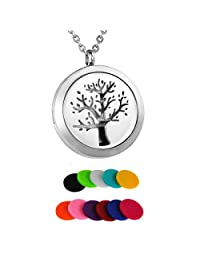 HooAMI Tree of Life Aromatherapy Essential Oil Diffuser Necklace Locket Pendant 11 Felt Pads
