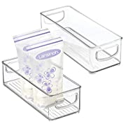 mDesign Baby Food Kitchen Refrigerator Cabinet or Pantry Storage Organizer Bin with Handles for Breast Milk, Pouches, Jars, Bottles, Formula, Juice Boxes - BPA Free, 10  x 4  x 3 , Pack of 2, Clear