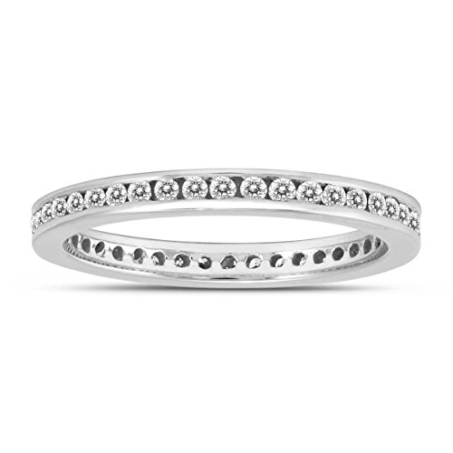 AGS Certified 1/2 Carat TW Channel Set Thin Eternity Diamond Band in 10K White Gold (Channel Tw Set)