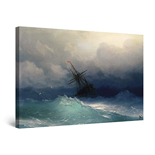 Canvas Reproduction Vintage Print - STARTONIGHT Canvas Wall Art - Aivazovsky Ship on Stormy Seas Reproduction Framed 32 x 48 Inches