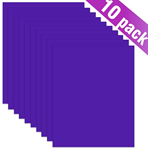 "ARHIKY Heat Transfer Vinyl HTV Bundle: 10 Pack Purple 12""x10"" Sheets for DIY Iron On T-Shirts Fabrics"