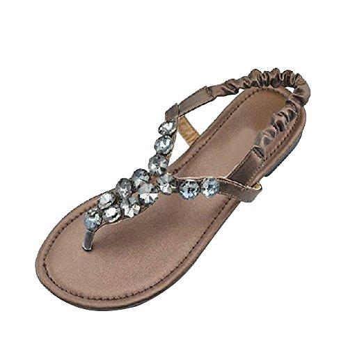 Zapatos de las mujeres planas de diamantes de imitación - sandalias clip de dedo del pie Bronce