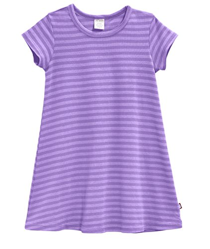 City Threads Baby Girls' Cotton Short Sleeve Cover Up Dress for Sensitive Skin SPD Sensory Friendly, Stripe Deep Purple 12/18m