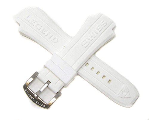 (Swiss Legend 18MM White Silicone Rubber Band Strap & Silver Stainless Buckle fits 48mm Neptune Watch)