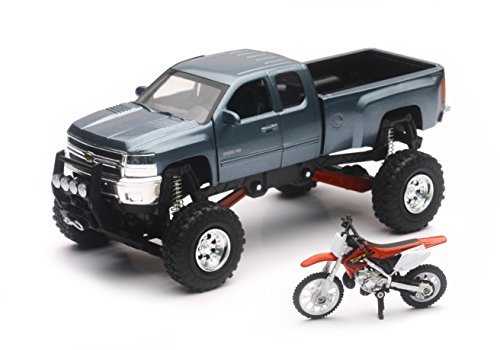 NewRay Chevrolet 4x4 Gray Silverado Pickup Truck w/ Working Suspension and Honda Dirt Bike