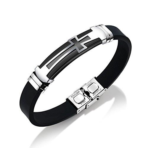 Cross Silicone Sport Wristband Bangle Bracelet Stainless Steel Design, Black / Blue, 7.87 inch
