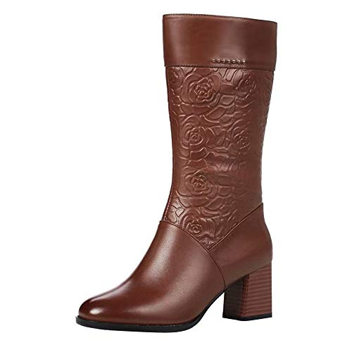 9633dd3494525 Baiggooswt Vintage Women High Heel Keep Warm Leather Mid Calf Booties  Zipper Rose Print Boots Round Toe Shoes