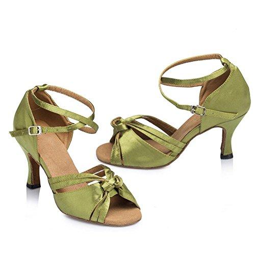 Sandali Donna In Pelle Scamosciata Con Suole Morbide Salsa Latin Samba Ballroom Tango Alti Tacchi Fibbia Cross Strap Dance Shoes Green . C . 40