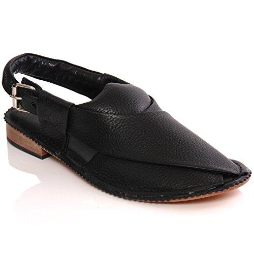 Unze Mens 'Sandler' Handmade Leather Flat Peshawari Sandals – G00193
