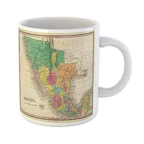 Tarolo 11 Oz Mug Coffee Mug Ceramic Tea Cup Old 1831 Antique Map of Texas California and Mexico Out Copyright Vintage World Large C-handle Family and Office Gift