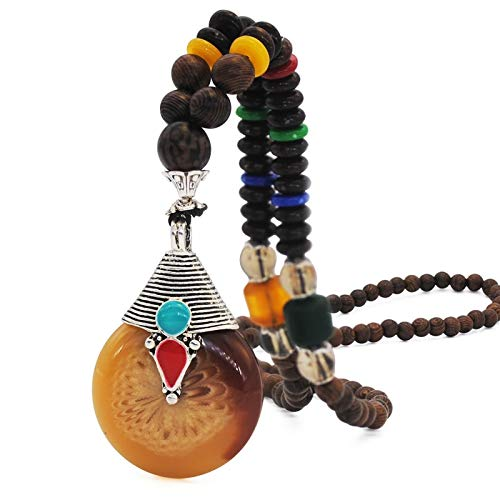 ace | Buddhist Wood Beads Pendant & Necklace | Ethnic Horn Fish Long Statement Jewelry | Women Men ()