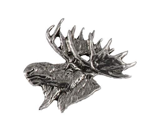 Moose Head Mammal Pewter Lapel Pin, Brooch, Jewelry, M016