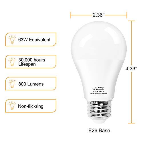 BEETRO Lighting Led Bulbs A19 9w 5000k 63w Equivalent 800 lumens Daylight Pack of 24pcs
