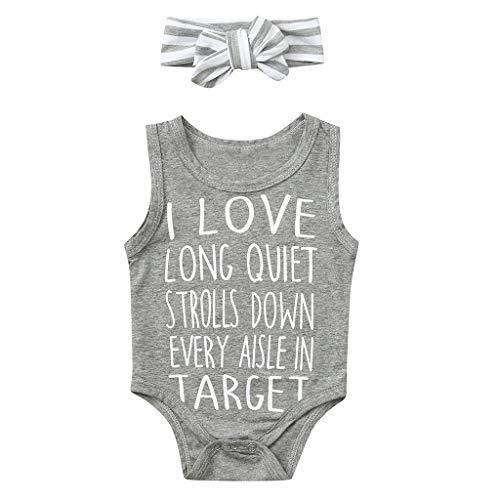 oldeagle Unisex Toddler Kids Baby Boy Girl Bodysuit I LOVE TARGET - Sleeveless Letter Print Romper + Hair Band 2PCs Clothing Set (Gray, 6-9 Months) -