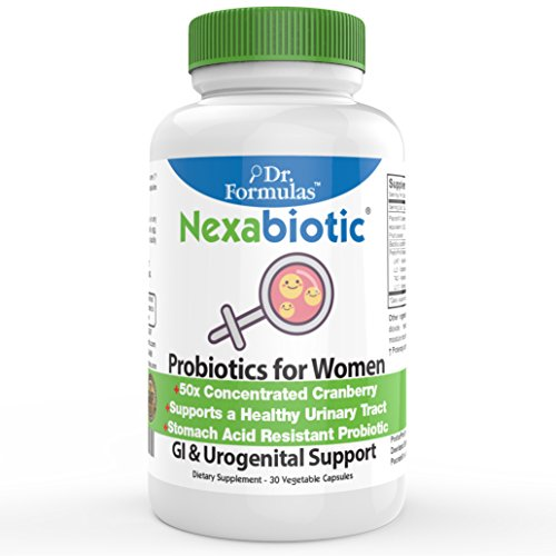 DrFormulas Women Probiotics with Cranberry, D Mannose, Prebiotic Fiber | Nexabiotic for Vaginosis, Yeast, Weight Loss & Urinary Health w/L Reuteri, Lactobacillus Acidophilus, 30 Capsule