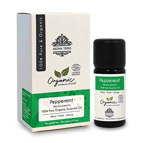 Aroma Tierra Organic Peppermint Essential Oil (India) - 100% Pure, Natural, Certified Organic by ECOCERT (10ml)