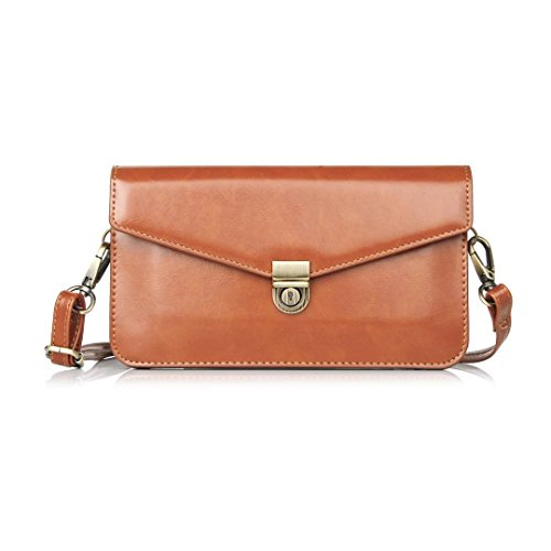 Small Women Crossbody Phone Purse Wallet Shoulder Bag with Card Holder for Galaxy S10 Plus / S10 / J7 Prime 2 / J7 Neo / J7 Pro / J8 / LG V50 ThinQ / G8 ThinQ/NUU G3 / Up to 6.5 inch (Burnt Orange)