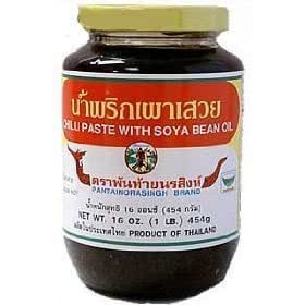 Pantainorasingh brand Thai Chile Paste with Soyabean Oil (Prik Pao) - 16 oz x 2 jars