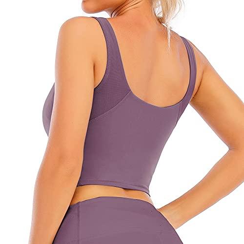 Loovoo Women Sports Bra Fitness Workout Running Yoga Tank Top Shirts Workout Running Crop Tank Tops Purple M