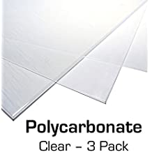 "Polycarbonate Plastic Sheet 12"" X 24"" X 0.0625"" (1/16"") 3 Pack with Resource Kit for VEX Robotics Teams, Shatterproof"
