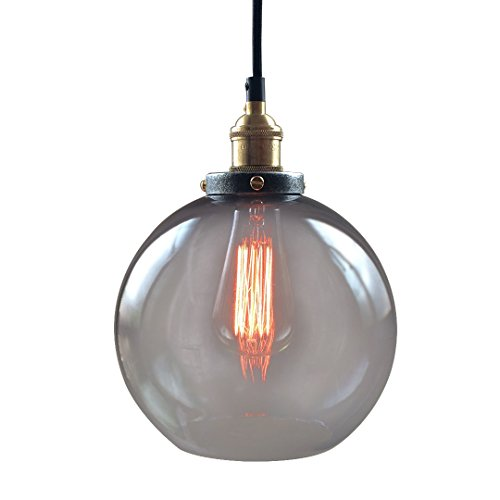 Large Clear Glass Globe Pendant Light - 7