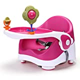 Feeding Chair Baby Travel Portable Booster Seat with Toys for Dining/Feeding/Eating with 3-Point Harness Secures Baby Tightly-Removable Tray (Pink)