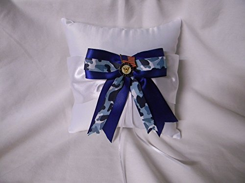 Wedding ceremony Party Military US Navy Ring bearer Pillow Blue Camo Bow by Custom Design Wedding Supplies by Suzanne