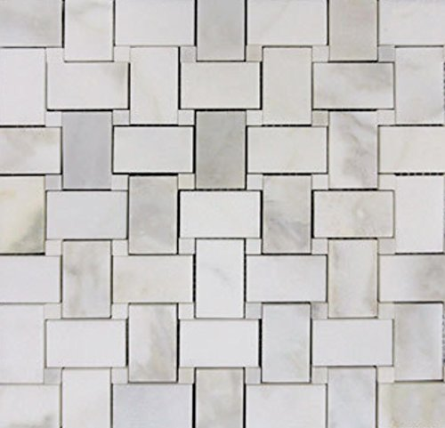 Honed Calacatta Gold Italian Marble Basketweave Mosaic Tile with Calacatta for Bathroom and Kitchen Walls Kitchen Backsplashes - Gold Marble Bathroom Sink