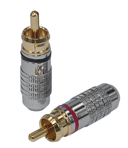 Rca Male Plug ([4pcs] 4 pcs total Hi End RCA Male Plug Adapter Audio Phono Gold Plated Solder Connector KK-02)
