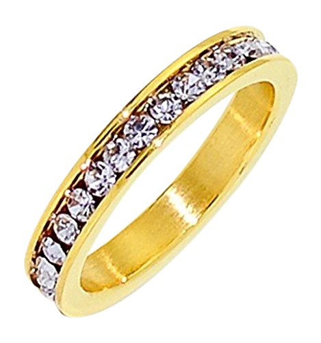 Birthstone Eternity Ring~June~Gold Plated Stainless Steel~Cubic Zirconia CZ Band~Alexanderite~Lavender Crystals~Stackable~Mother