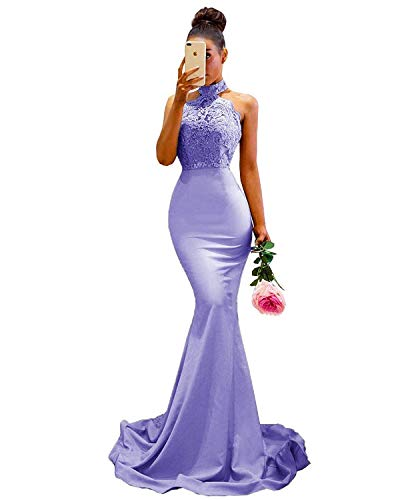 WiWiBridal Women's Halter Mermaid Applique Lace Wedding Bridesmaid Evening Dress Lavender