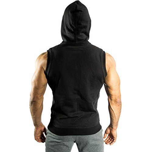 Ouber Men's Letter Printed Sleeveless Athletic Zipper Hoodie Gym Lifting Workout Tops