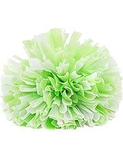 CHADOUsm Cheerleading Pompoms, Cheerleader Flower Balls, Square Dance Flower Balls, Aerobic Dance Accessories, Colored Balls (Green+ White)