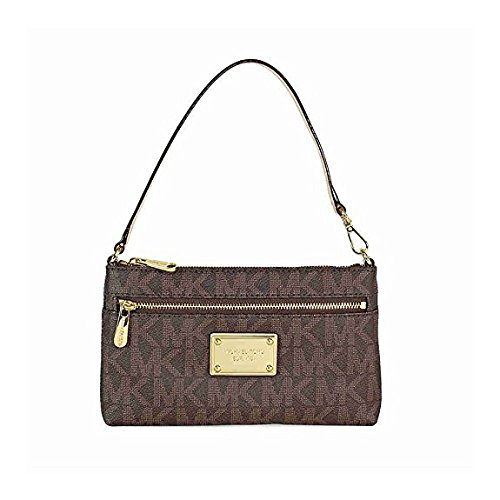 MICHAEL Michael Kors Monogram PVC Large Wristlet Brown w/ PVC Logo One (Jet Set Monogram)