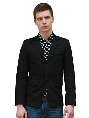 [Allegra K Men Notched Lapel Long Sleeves Single Breasted Blazer M Black] (Linen Single Breasted Sport Coat)