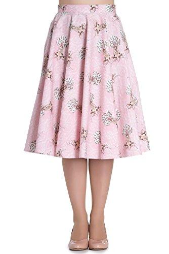 Hell Bunny Deery Me Vintage Retro Rockabilly 40s 50s Skirt Flare Swing Party - Pink (4XL)