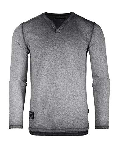 ng Sleeve V-Neck Henley Oil Wash Contrast Seam Vintage Shirt ()