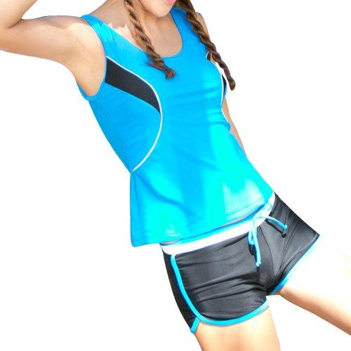 Your Gallery Elegant Modest Bright Color String Boxer Bottom Sports Bikini Swimsuit(blue, XL)